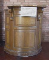 Image of the Pulpit used by John Wesley in the late 1700's, on display in the church