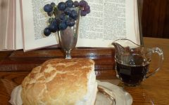 Image of communion bread and wine in front of open bible.