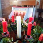 advent Candle wreath with two candles lit